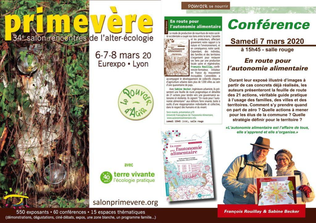 """""""En route pour l'autonomie alimentaire"""" au salon Primevère de Lyon le 7 mars 2020"""
