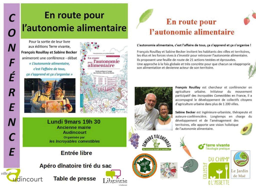 """""""En route pour l'autonomie alimentaire"""" à Audincourt lundi 9 mars 2020 à 19h30"""