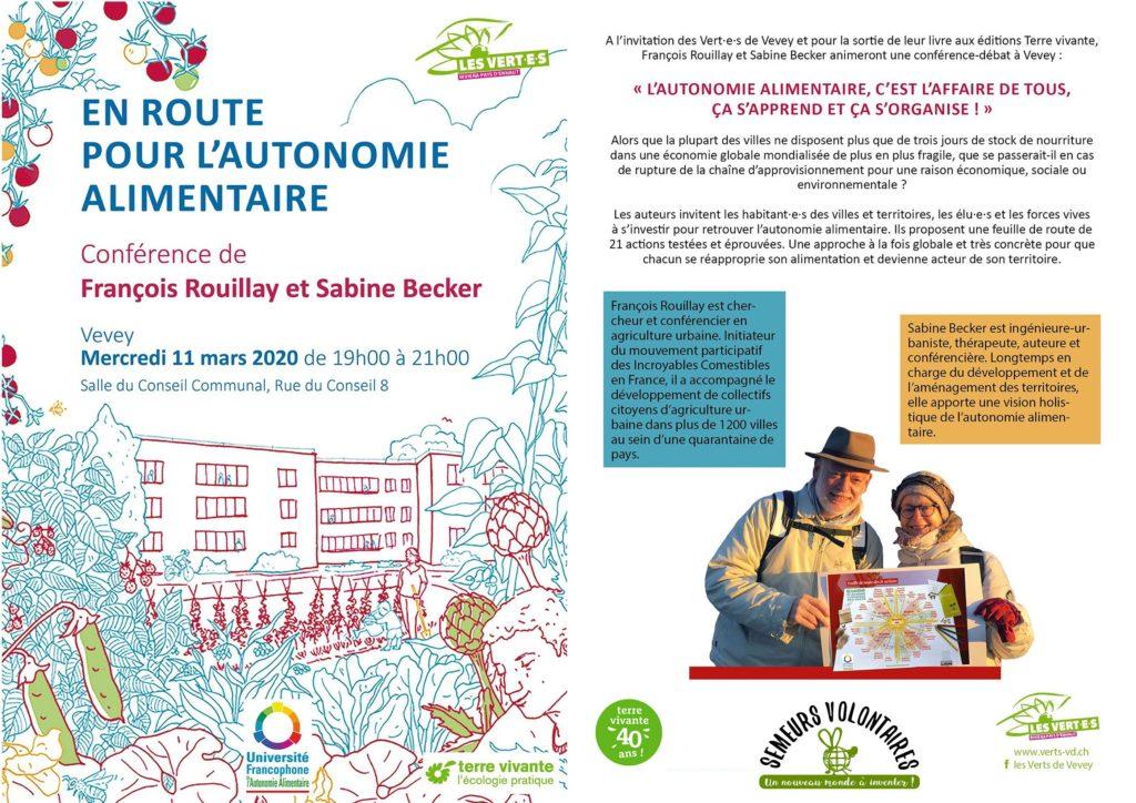 """Suisse : """"En route pour l'autonomie alimentaire"""" à Vevey mercredi 11 mars 2020 de 19h00 à 21h00"""